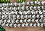 CLV551 15.5 inches 10mm round plated lava beads wholesale