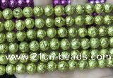 CLV555 15.5 inches 10mm round plated lava beads wholesale