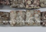 CMB21 15.5 inches 18*18mm square natural medical stone beads