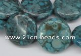 CMB43 15.5 inches 20mm flat round dyed natural medical stone beads