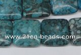 CMB53 15.5 inches 18*18mm square dyed natural medical stone beads