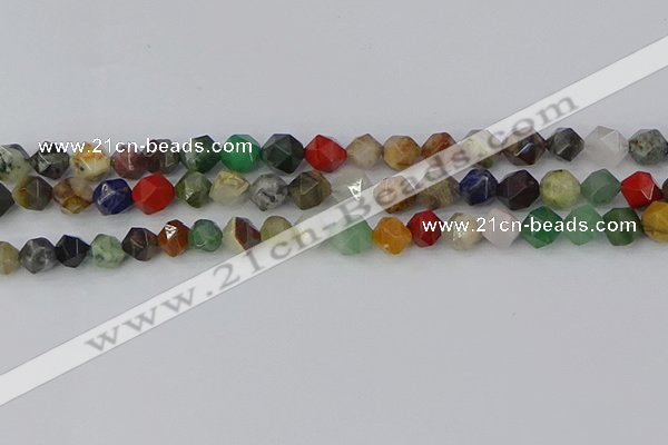 CME107 15.5 inches 8mm faceted nuggets mixed gemstone beads