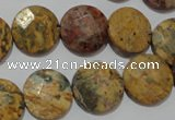 CME54 15.5 inches 15mm faceted coin leopard jasper gemstone beads