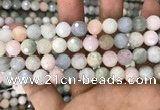 CMG347 15.5 inches 10mm faceted round morganite beads wholesale
