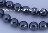 CMH06 16 inches 12mm faceted round magnetic hematite beads