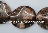 CMI01 15.5 inches 25*30mm wavy oval mica quartz beads wholesale