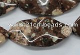 CMI07 15.5 inches 20*40mm wavy marquise mica quartz beads wholesale