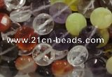 CMQ18 15.5 inches 10mm faceted coin multicolor quartz beads