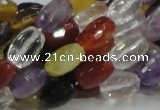 CMQ26 15.5 inches 8*12mm faceted rice multicolor quartz beads