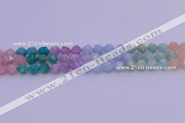 CMQ394 15.5 inches 12mm faceted nuggets mixed quartz beads