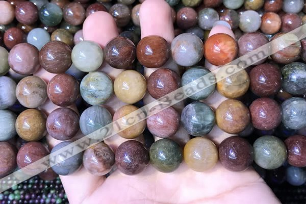 CMQ445 15.5 inches 14mm round mixed rutilated quartz beads