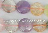 CMQ71 15.5 inches 18mm faceted coin multicolor quartz beads