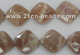 CMS106 15.5 inches 14*14mm faceted diamond moonstone gemstone beads