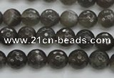 CMS1075 15.5 inches 6mm faceted round grey moonstone beads wholesale
