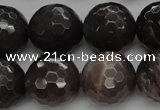 CMS1078 15.5 inches 12mm faceted round grey moonstone beads wholesale