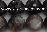 CMS1079 15.5 inches 14mm faceted round grey moonstone beads wholesale