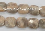 CMS109 15.5 inches 15*15mm faceted square moonstone gemstone beads