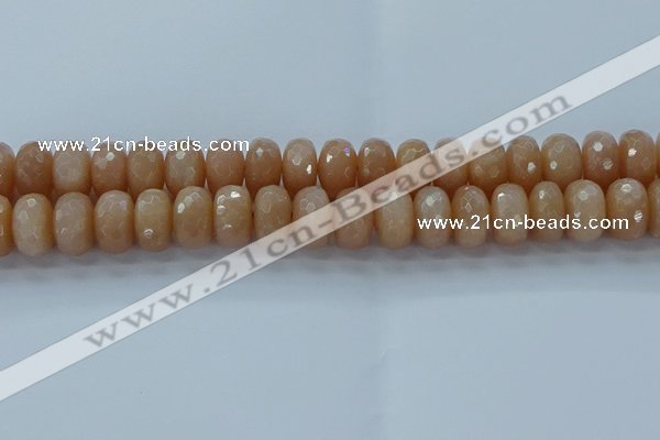CMS1174 15.5 inches 8*14mm faceted rondelle moonstone beads