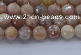 CMS1300 15.5 inches 4mm faceted round AB-color moonstone beads