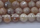 CMS1301 15.5 inches 6mm faceted round AB-color moonstone beads
