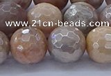 CMS1305 15.5 inches 14mm faceted round AB-color moonstone beads