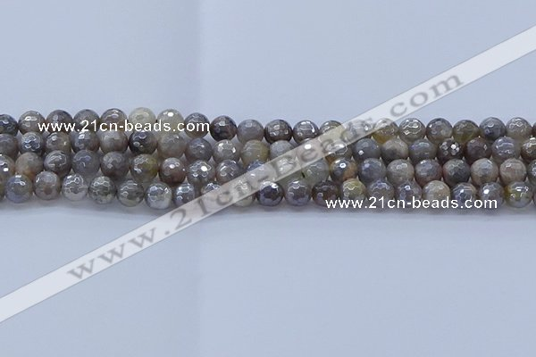 CMS1311 15.5 inches 6mm faceted round AB-color grey moonstone beads