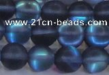 CMS1519 15.5 inches 12mm round matte synthetic moonstone beads