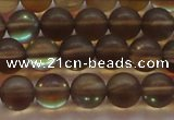 CMS1528 15.5 inches 10mm round matte synthetic moonstone beads