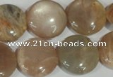 CMS525 15.5 inches 20mm flat round moonstone beads wholesale