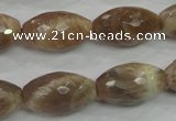 CMS93 15.5 inches 13*22mm faceted rice moonstone gemstone beads