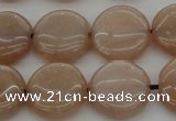 CMS958 15.5 inches 12mm flat round A grade moonstone beads
