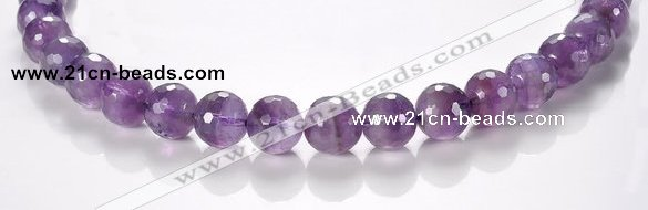 CNA08 12mm faceted round A- grade natural amethyst quartz beads