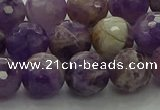 CNA1013 15.5 inches 10mm faceted round dogtooth amethyst beads