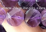 CNA1109 15.5 inches 10mm twisted & faceted coin amethyst beads