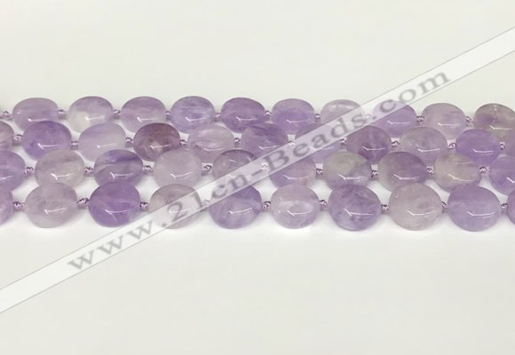 CNA1126 15.5 inches 14mm flat round natural lavender amethyst beads