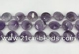 CNA1204 15.5 inches 20mm faceted coin amethyst beads wholesale