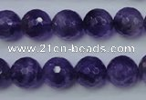 CNA254 15.5 inches 12mm faceted round natural amethyst beads