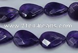 CNA262 15.5 inches 13*18mm faceted flat teardrop natural amethyst beads