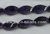 CNA291 15.5 inches 8*16mm twisted rice natural amethyst beads