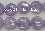 CNA324 15.5 inches 16mm faceted coin natural lavender amethyst beads