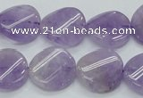 CNA343 15.5 inches 20mm twisted coin natural lavender amethyst beads