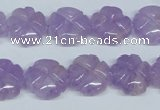 CNA435 15.5 inches 15mm carved flower natural lavender amethyst beads