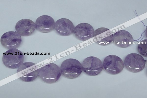 CNA439 15.5 inches 30mm flat round natural lavender amethyst beads