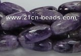 CNA52 15.5 inches 10*20mm faceted rice grade AB natural amethyst beads