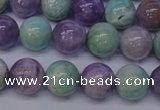 CNA654 15 inches 12mm round lavender amethyst & amazonite beads