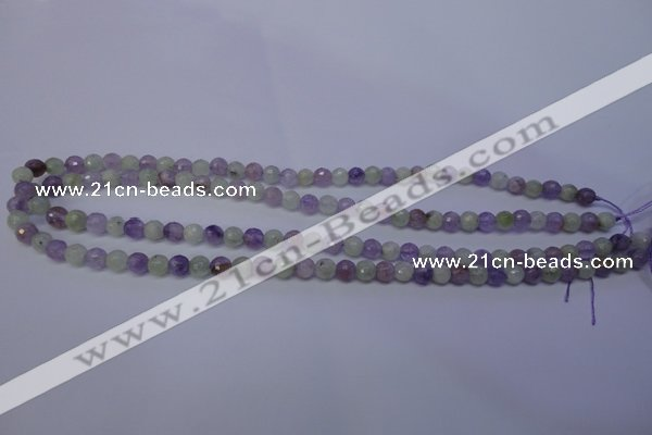 CNA661 15 inches 6mm faceted round lavender amethyst & prehnite beads