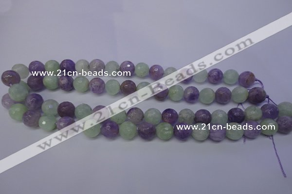 CNA664 15 inches 12mm faceted round lavender amethyst & prehnite beads