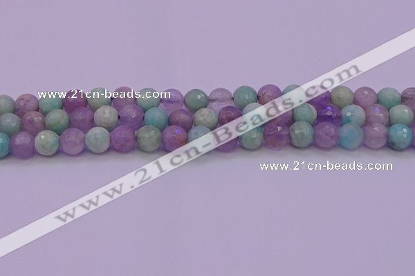 CNA683 15.5 inches 10mm faceted round lavender amethyst & amazonite beads