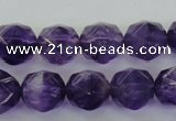 CNA70 15.5 inches 10mm faceted round natural amethyst beads