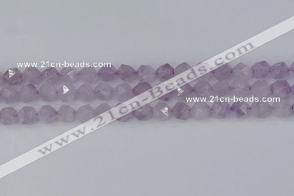 CNA763 15.5 inches 10mm faceted nuggets light lavender amethyst beads